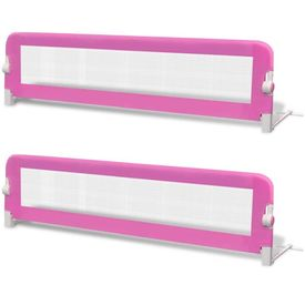 Balustradă de pat protecție copii, 2 buc., roz, 150 x 42 cm