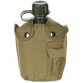 Bidon 1 litru cu husa bej, BPA free, MFH