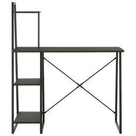 Birou cu rafturi, negru, 102 x 50 x 117 cm