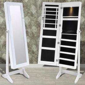 Cabinet alb pentru bijuterii cu suport, oglindă și lampă LED