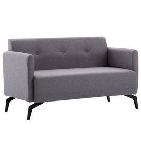 Canapea 2 locuri, material textil, 115x60x67 cm, gri deschis