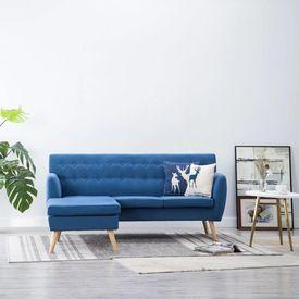 Canapea formă L, material textil, 171,5x138x81,5 cm, albastru