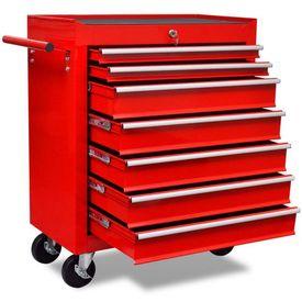 Cărucior pentru unelte de atelier cu șapte sertare, roșu