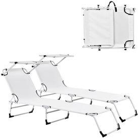 [casa.pro]® Set 2 bucati sezlong cu trapa, 187 x 53 x 27 cm, otel/poliester, alb