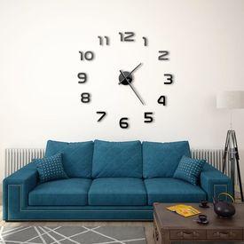 Ceas de perete 3D, negru, 100 cm, XXL, design modern