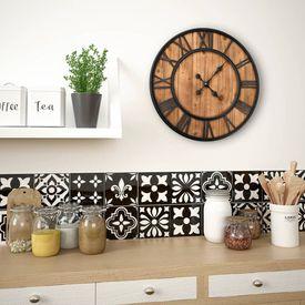 Ceas de perete vintage, cu cuarț, lemn și metal, XXL, 60 cm