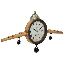 Ceas design de perete - Model 21 Avion antic, metal,sticla, plastic, MDF, 86 x 6 x 44 cm multicolor
