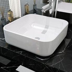 Chiuvetă de baie din ceramică, pătrată, 38 x 38 x 13,5 cm, alb