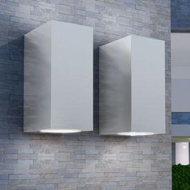 Corp iluminat LED perete exterior 2 buc, pătrat, sus/jos