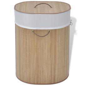 Coș de rufe oval din bambus, natural