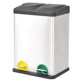 Coș gunoi cu pedale pentru reciclare, oțel inoxidabil, 2 x 18 L