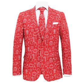Costum bărbătesc Crăciun, 2 piese, cravată, roșu, mărimea 56