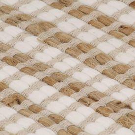 Covor din iută lucrat manual, natural & alb, 120x180 cm textil