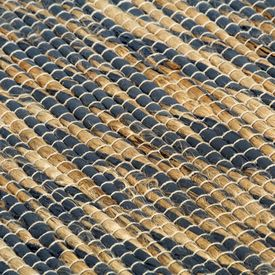 Covor manual, albastru și natural, 160x230 cm, iută