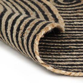Covor manual cu imprimeu spirală, negru, 90 cm, iută