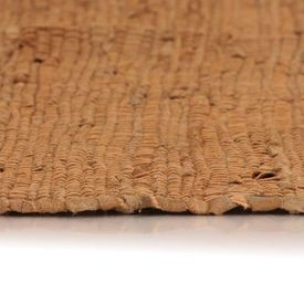 Covor țesut manual Chindi din piele, 190 x 280 cm, bronz
