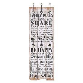 Cuier de perete cu 6 cârlige, 120 x 40 cm, FAMILY RULES