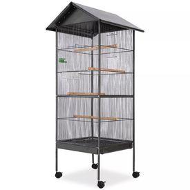 Cușcă de păsări cu acoperiș, oțel, 66 x 66 x 155 cm, negru