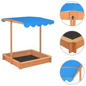 Cutie de nisip cu acoperiș ajustabil, albastru, lemn, UV50
