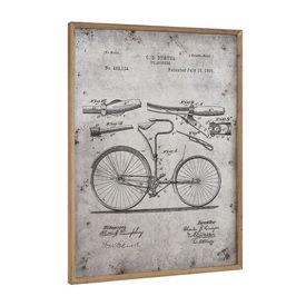 Design fotografie de perete pe placa de aluminiu Modell 8 - bicicleta (desentehnic), 80x60x2,8cm, rama lemn
