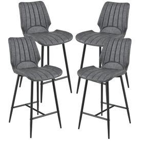 [en.casa]® Set 4 bucati scaune bar Planica, 102,5 x 46,5 cm, imitatie piele/metal, gri inchis