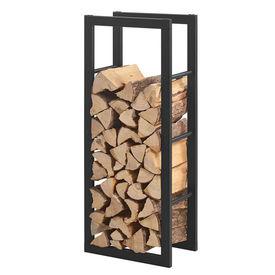 [en.casa]® Stove Suport lemne pentru sobe si seminee AAFR-6601, 40 x 100 x 25 cm, otel, negru