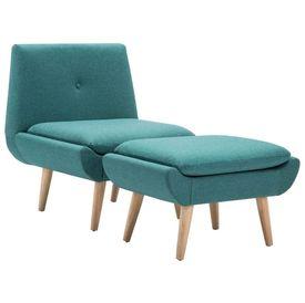 Fotoliu cu suport picioare, tapițerie material textil, verde