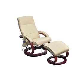 Fotoliu de masaj electric, cu taburet, piele artificială, crem
