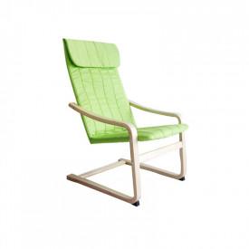 Fotoliu relaxant lemn de mesteacan/material verde GL TORSTEN