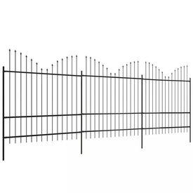 Gard grădină cu vârf suliță inversat (1,75-2)x6 m oțel, negru