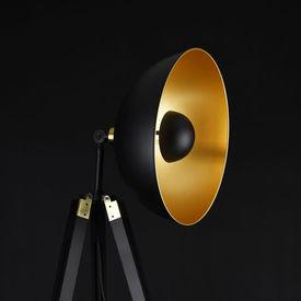 Lampadar Ottawa, 148 cm, 1 x E27, max. 60W, metal/lemn, negru/auriu