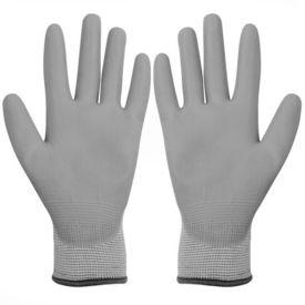 Mănuși de lucru poliuretan, 24 perechi, alb și gri, mărime 9/L