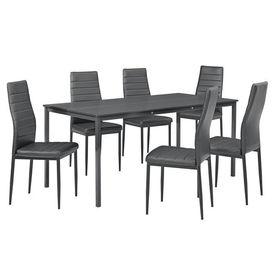 Masa bucatarie/salon design elegant - gri inchis (160x80cm) - cu 6 scaune gri inchis elegante
