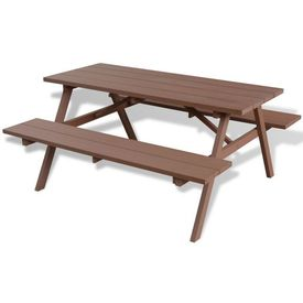Masă de picnic cu băncuțe din WPC 150x139x72.5 cm Maro