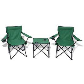 Masă pentru camping și 2 scaune, trei piese, verde
