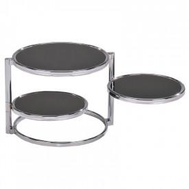 Masuta cafea rotabila sticla neagra/crom GL MOIRA