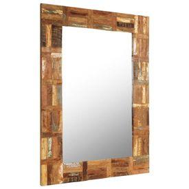 Oglindă de perete, lemn masiv reciclat, 60 x 90 cm