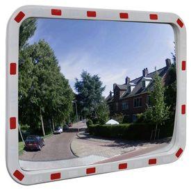 Oglindă rutieră dreptunghiulară convexă cu reflectoare, 60 x 80 cm