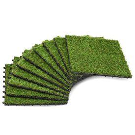 Plăci de iarbă artificială, 10 buc, 30 x 30 cm, verde