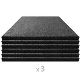 Plăci de protecție la cădere 18 buc. negru 50x50x3 cm cauciuc