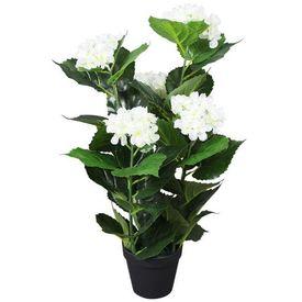 Plantă artificială Hydrangea cu ghiveci, 60 cm, alb