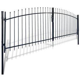 Poartă de gard cu uși duble, cu vârfuri de suliță, 400 x 175 cm