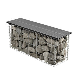 [pro.tec]® WPC Gabion banca HTGB-6731- decoratie cos piatra 100x30x45cm, metal/WPC, gri