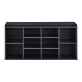 Raft Larina pentru incaltaminte,103 x 30 x 48 cm, PAL, gri inchis/negru, cu 10 compartimente depozitare, cu perna pentru sezut