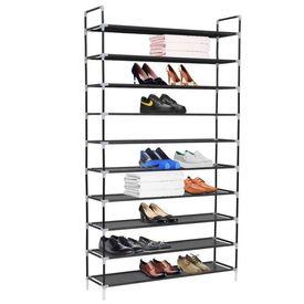 Raft pantofi 10 etajere, Metal și material textil nețesut Negru