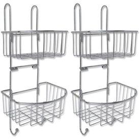 Rafturi pentru duș în două polițe, metal, 2 buc.