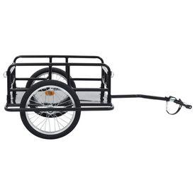 Remorcă de bicicletă, negru, 130 x 73 x 48,5 cm, oțel