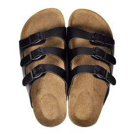 Sandale unisex din plută bio, 3 curele cu cataramă, mărime 39, negru