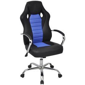 Scaun de birou design racing din piele artificială, Albastru