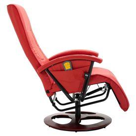 Scaun de masaj, roșu, piele ecologică